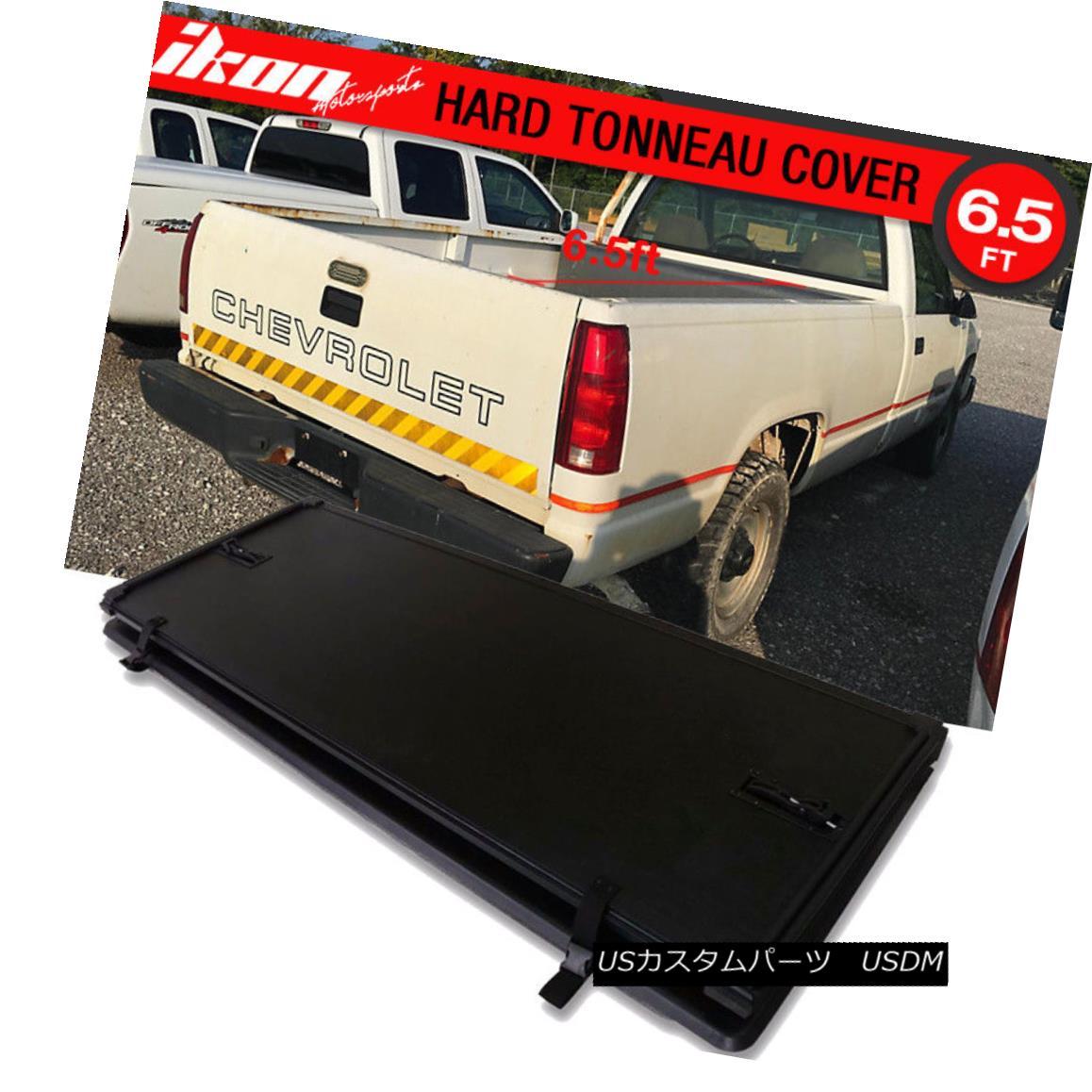 エアロパーツ Fits 88-00 GMC Sierra CK 6.5ft Bed Lock Tri-Fold Hard Solid Tonneau Cover Black フィット88-00 GMC Sierra CK 6.5フィートベッドロックトライフォールドハードソリッドトノーカバーブラック