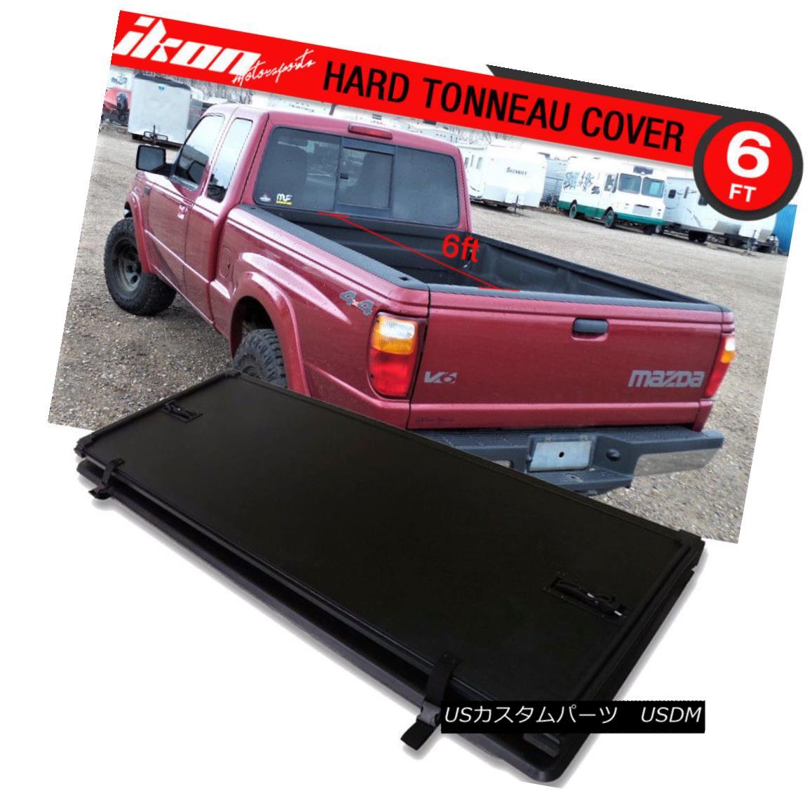 エアロパーツ For 82-13 Ranger 94-11 Mazda 72 Inch Bed Tri-Fold Hard Solid Tonneau Cover 82-13レンジャーの場合94-11マツダ72インチベッドトライフォールドハードソリッドトノーカバー