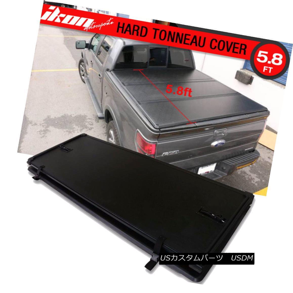 エアロパーツ For 14-17 Silverado Sierra 1500 5.8ft Bed Lock Tri-Fold Hard Solid Tonneau Cover 14-17 Silverado Sierra 1500 5.8ftベッドロックトライフォールドハードソリッドトノーカバー用