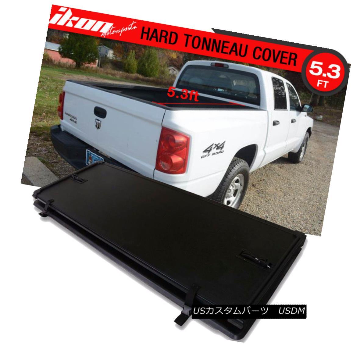 エアロパーツ For 05-11 Dodge Dakota Hard Solid Lock Tri-Fold Tonneau Cover 5.3ft Bed 05-11ダッジダコタハードソリッドロックトライフォールドトノーカバー5.3ftベッド