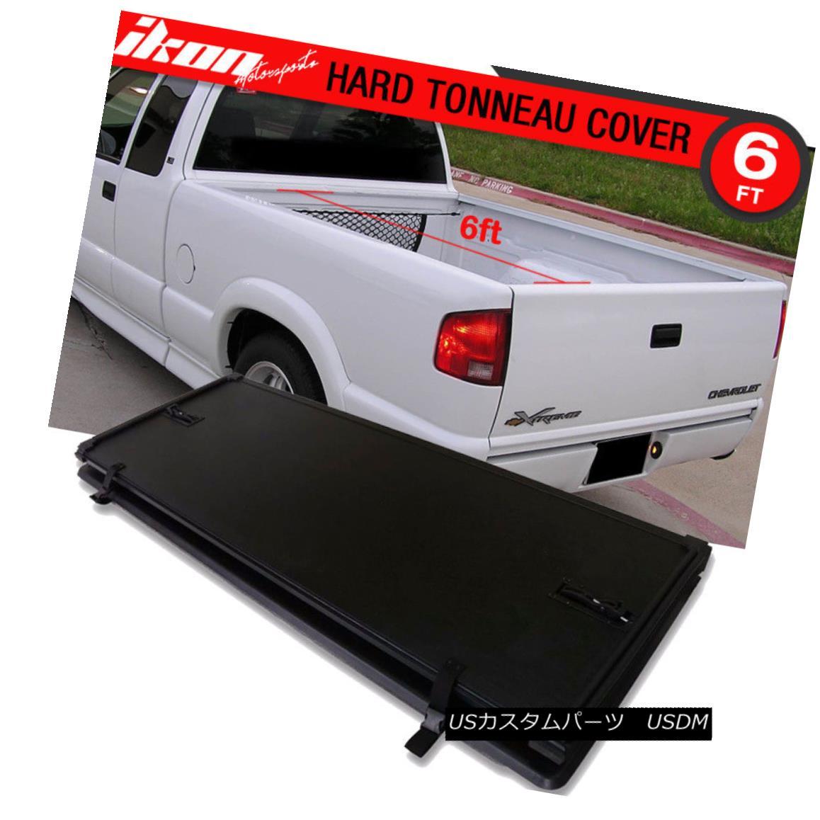 エアロパーツ Fits 94-04 Chevrolet S10 GMC S15 72in Bed Tri-Fold Hard Solid Tonneau Cover フィット94-04シボレーS10 GMC S15 72インチベッドトライフォールドハードソリッドトノーカバー
