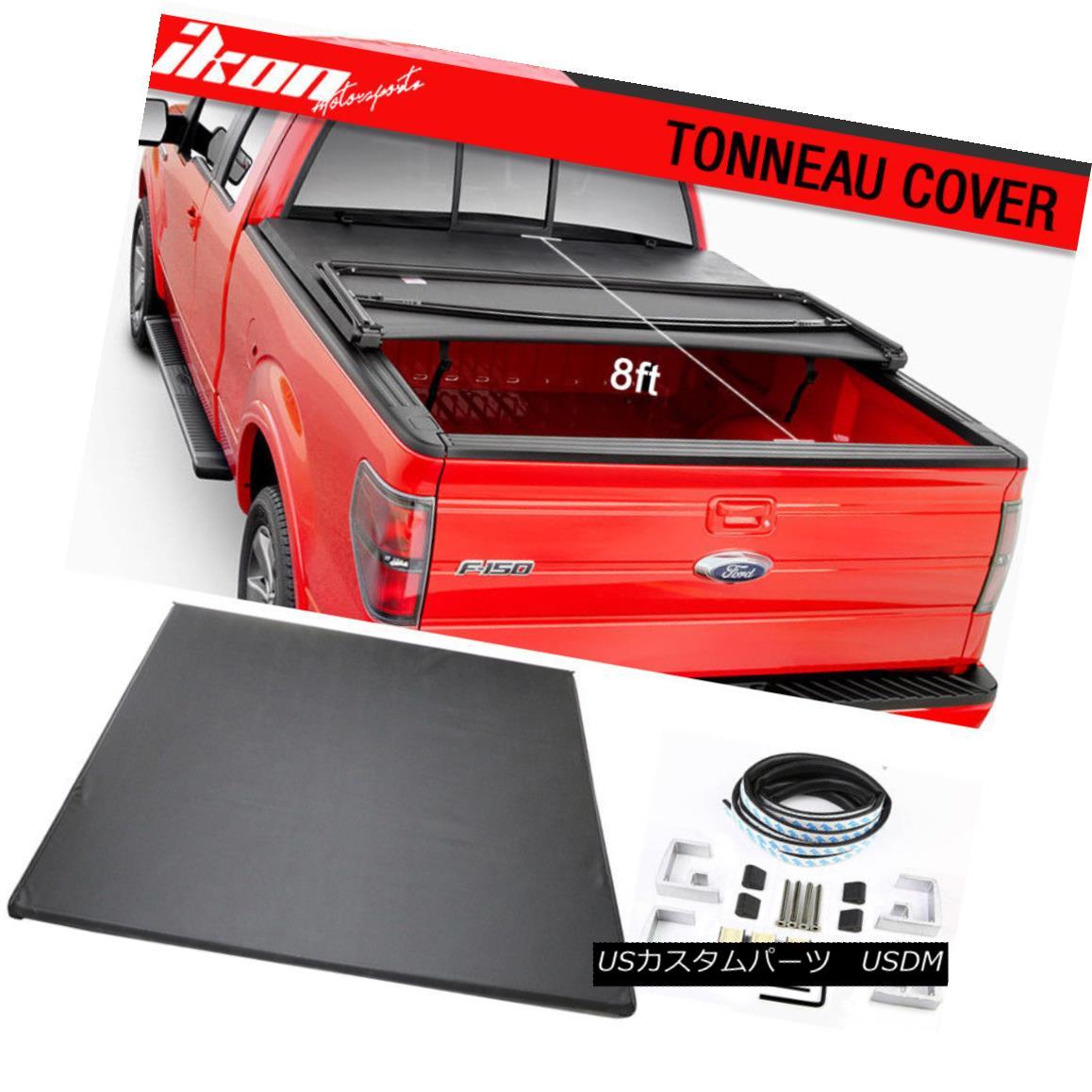 エアロパーツ Fits 09-14 F-150 w/o Utility Track 8ft96in Bed Lock Soft Tri-Fold Tonneau Cover フィットトラック09時14分F-150ユーティリティトラック8ft96inベッドロックソフトトライフォールドトノーカバー