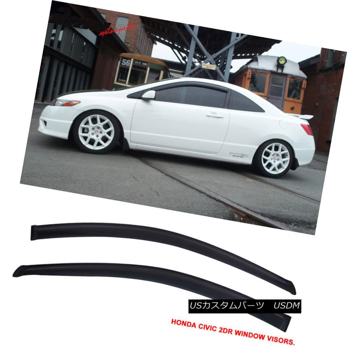エアロパーツ Fits 06-11 Honda Civic Coupe Acrylic Window Visors 2Pc Set フィット06-11ホンダシビッククーペアクリル窓バイザー2PCセット