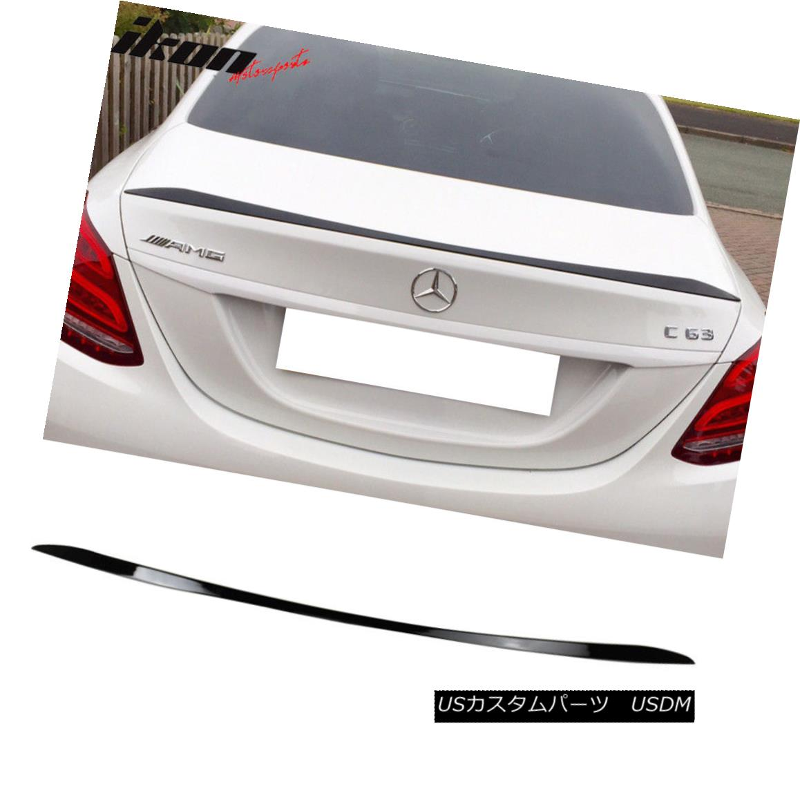 エアロパーツ Fits 15-18 Benz W205 C Class Sedan OE Factory Trunk Spoiler Painted #040 Black フィット15-18ベンツW205 CクラスセダンOE工場トランクスポイラー#040黒塗装