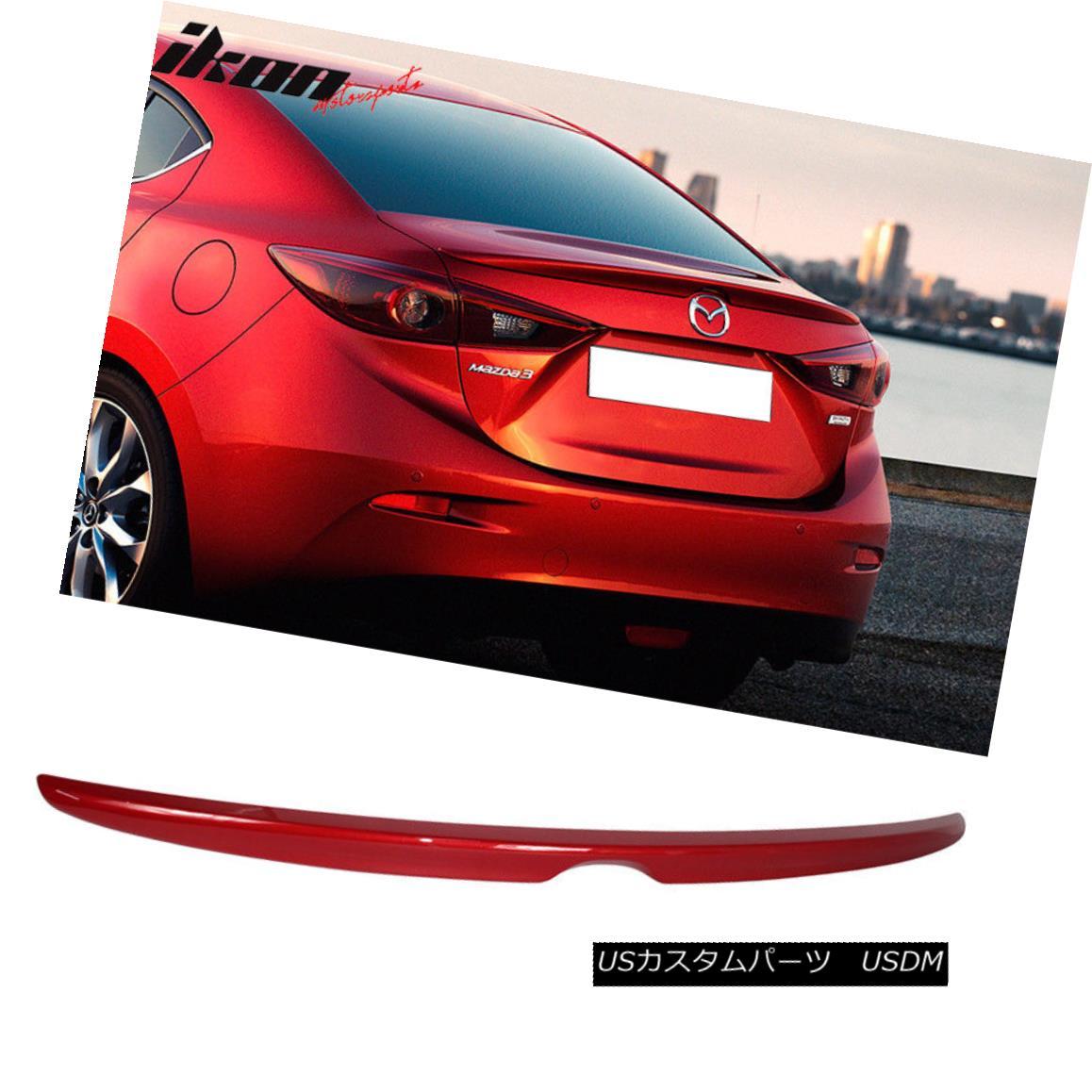 エアロパーツ Fits 14-16 Mazda 3 Sedan OE Factory Painted Trunk Spoiler #41V Soul Red Metallic フィット14-16マツダ3セダンOE工場塗装トランクスポイラー#41Vソウルレッドメタリック