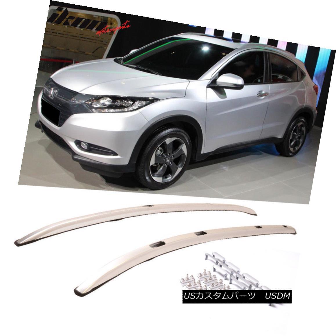 エアロパーツ Fits 16-18 Honda HRV HR-V Vezel Brushed Aluminum Roof Rails Set フィット16-18ホンダHRV Vezelブラシ付きアルミ屋根のレールセット