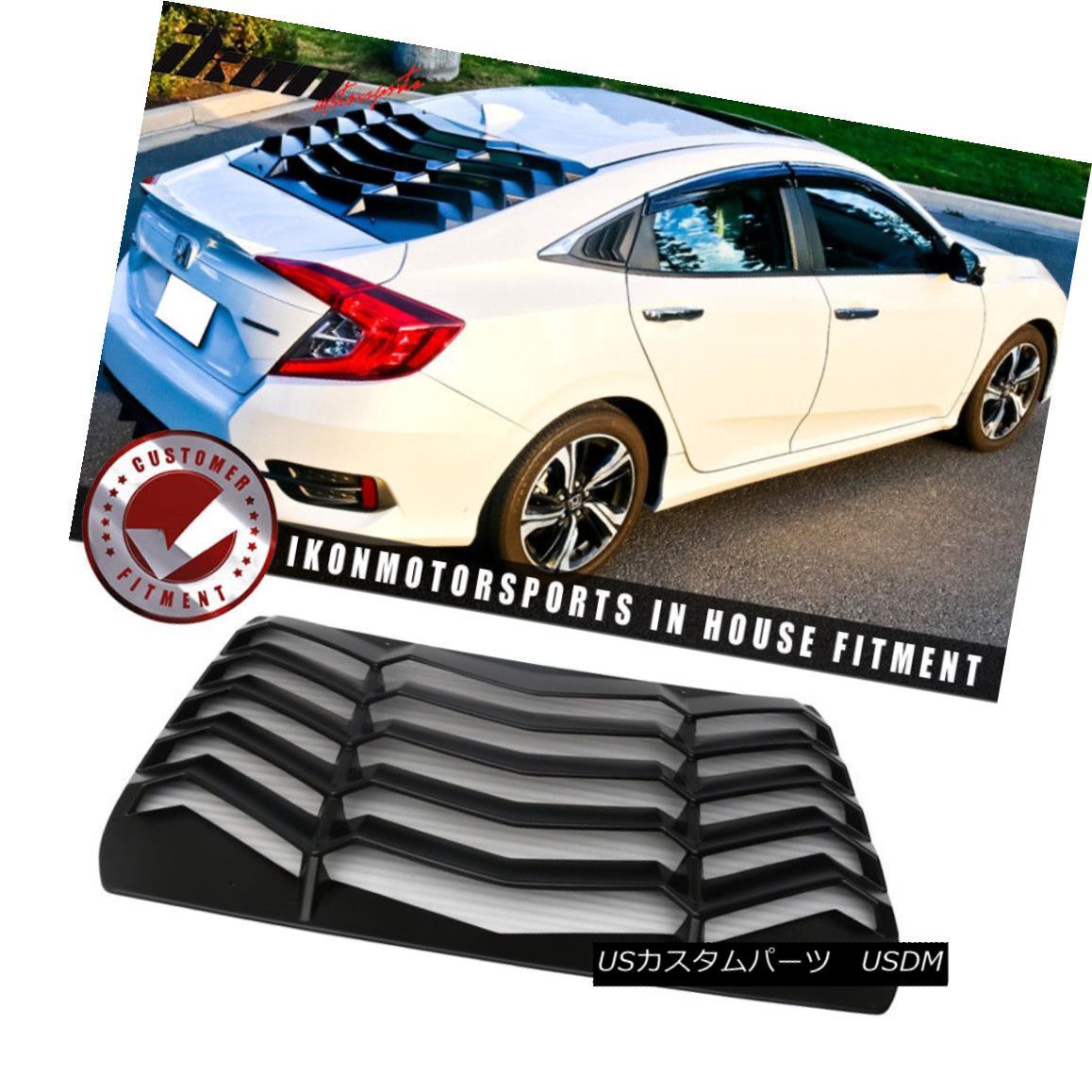 エアロパーツ Fits 16-18 Honda Civic Sedan Rear Window Louvers Cover Sun Shade ABS フィット16-18ホンダシビックセダンリアウィンドウルーバーカバー日陰ABS