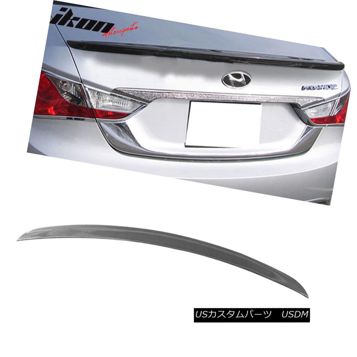 エアロパーツ Fits 11-14 Hyundai Sonata OE Factory Style CF Carbon Fiber Trunk Spoiler フィット11-14現代ソナタOE工場スタイルCF炭素繊維トランク・スポイラー