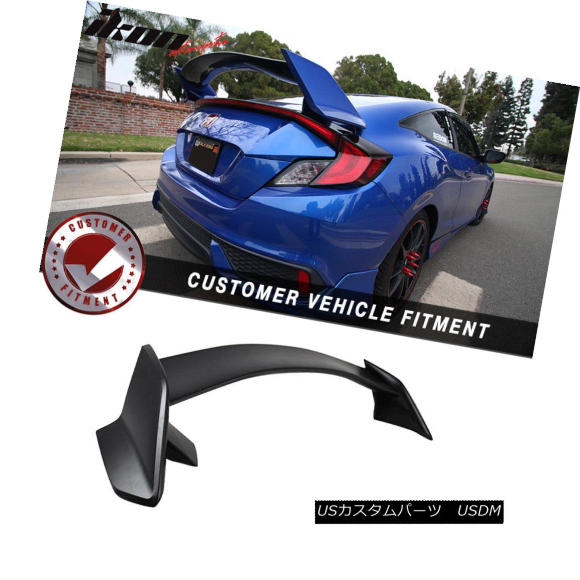 エアロパーツ 16-18 Honda Civic 10th Gen X Coupe 2Dr Type-R Unpainted Trunk Spoiler - ABS 16-18ホンダシビック第10世代Xクーペ2Drタイプ-R無塗装トランクスポイラー - ABS