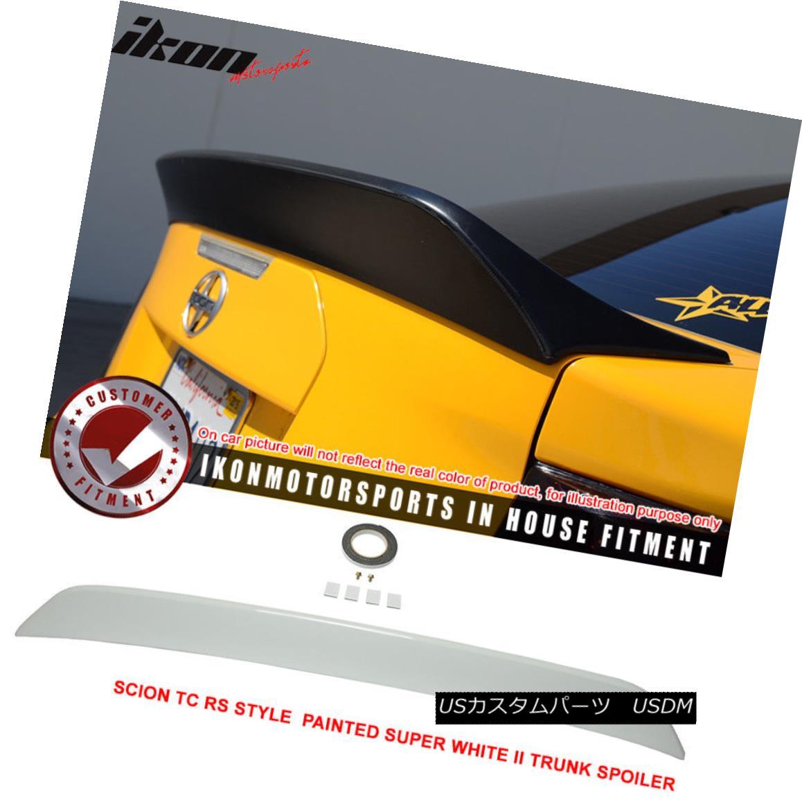 エアロパーツ 11-15 Scion TC RS Style Painted # 040 Super White II Trunk Spoiler - ABS 11-20サイオンTC RSスタイル塗装#040スーパーホワイトIIトランクスポイラー - ABS