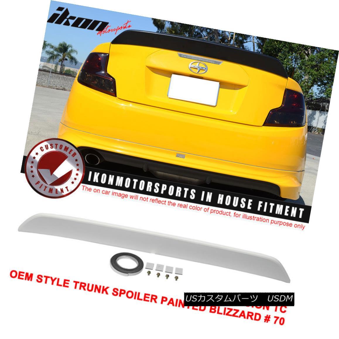エアロパーツ Fit For 11-16 Scion tC OE Style Trunk Spoiler Painted Blizzard # 70 - ABS 11-16シオン用フィットtC OEスタイルトランクスポイラーペイントブリザード#70 - ABS