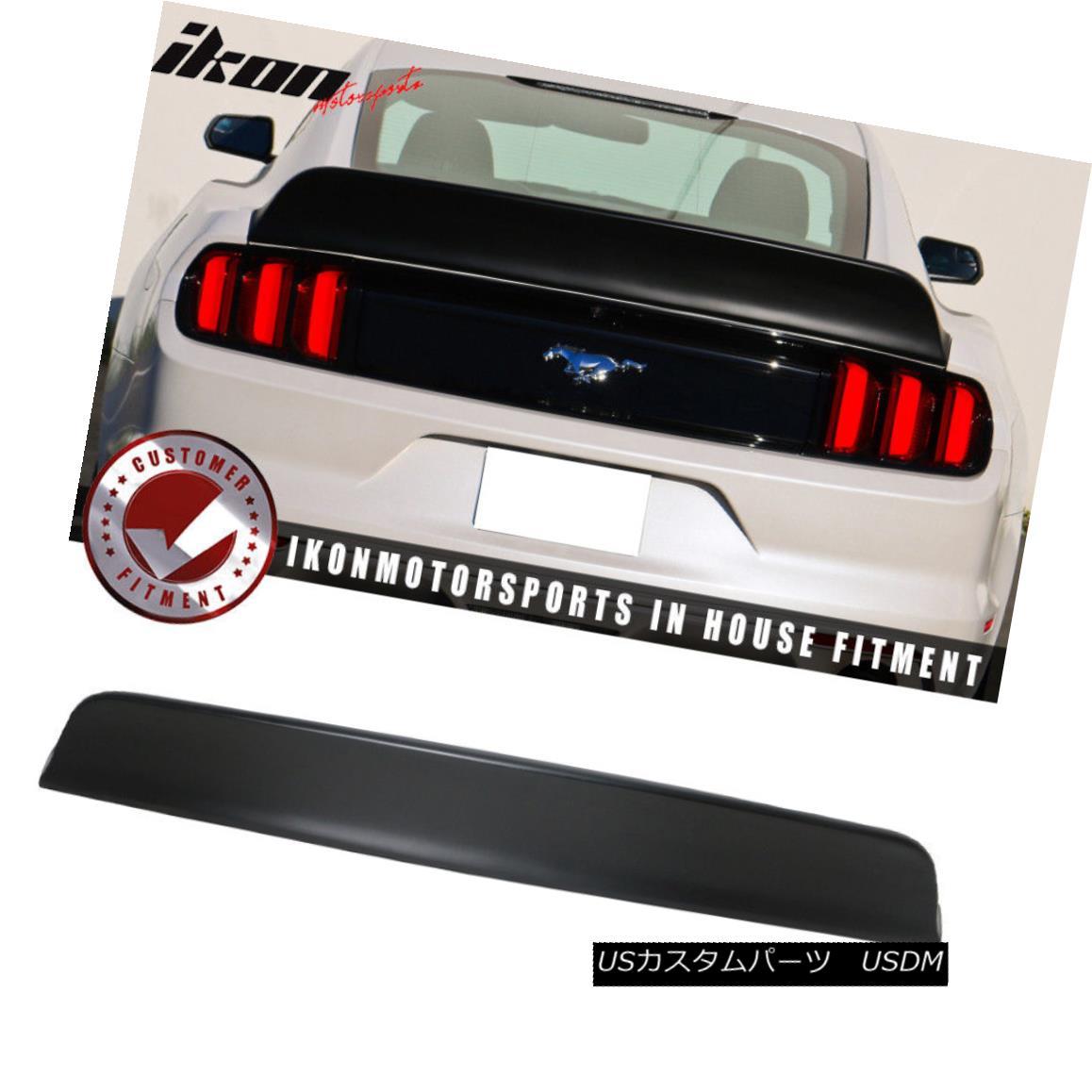 エアロパーツ Fits 15-18 Ford Mustang Coupe IKON Style Matte Black Duckbill Trunk Spoiler PP フィット15-18フォードマスタングクーペIKONスタイルマットブラックダックビルトランクスポイラーPP
