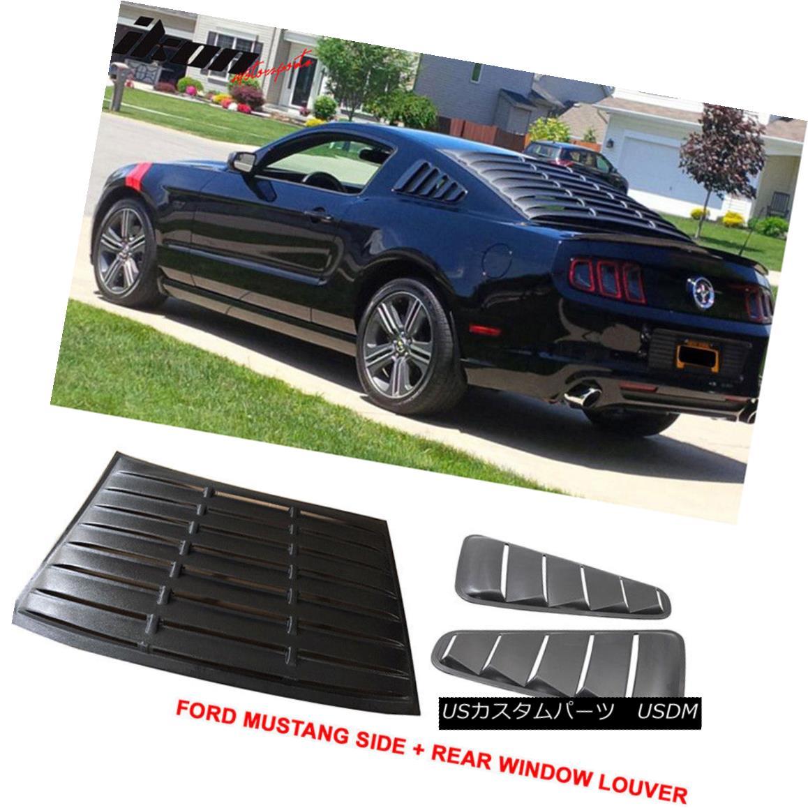 エアロパーツ For 10-14 Ford Mustang V6 Quarter ABS Rear + Side 5 Vents PP Window Louver Black 10-14フォードマスタングV6クォーターABSリア+サイド5ベントPPウィンドウルーバーブラック
