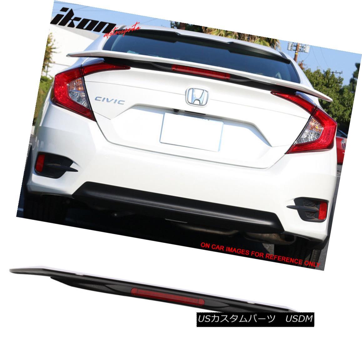 エアロパーツ 16-18 Civic X Sedan RS Trunk Spoiler & LED Painted #R560P Burgundy Night Pearl 16-18シビックXセダンRSトランク・スポイラー& LED塗装#R560Pバーガンディーナイトパール