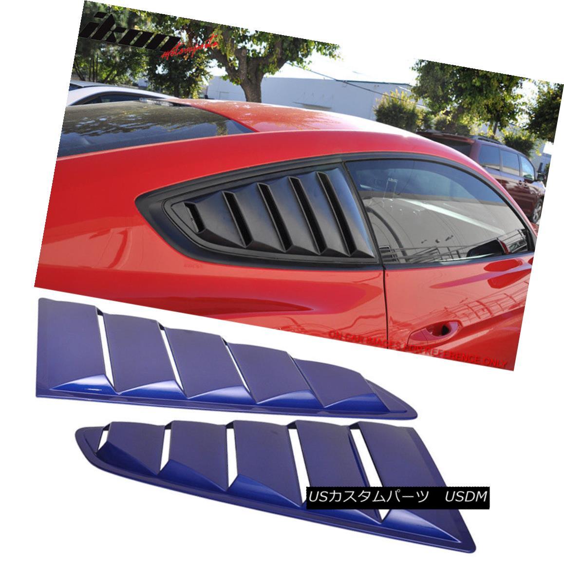 エアロパーツ For 15-18 Ford Mustang OE Style Paint J4 Impact Blue Side Window Louvers 15-18フォードマスタングOEスタイルペイントJ4インパクトブルーサイドウィンドウルーバー