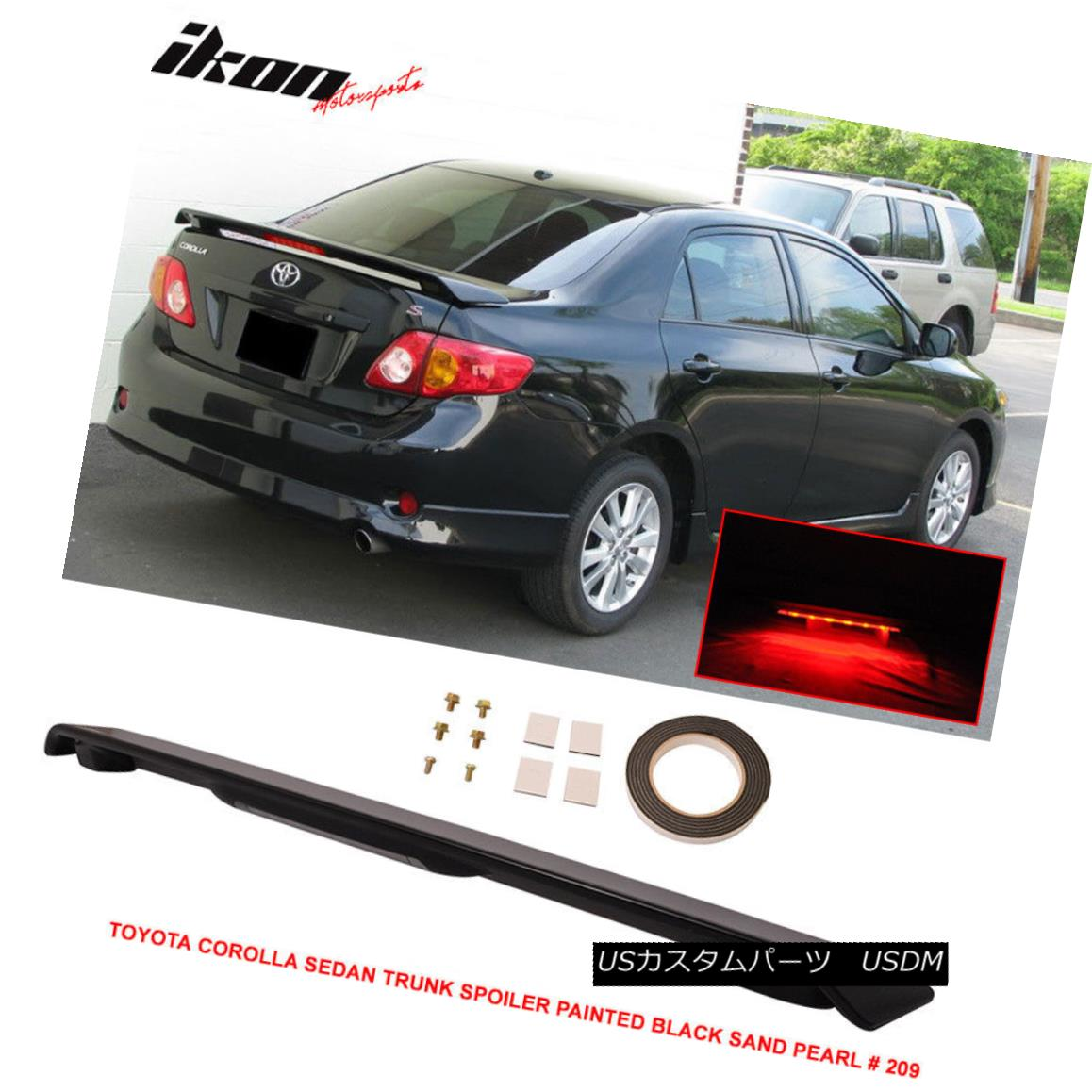 エアロパーツ 09-13 Toyota Corolla Trunk Spoiler Painted Black Sand Pearl # 209 LED Light 09-13トヨタカローラトランクスポイラー黒砂パール#209 LEDライト