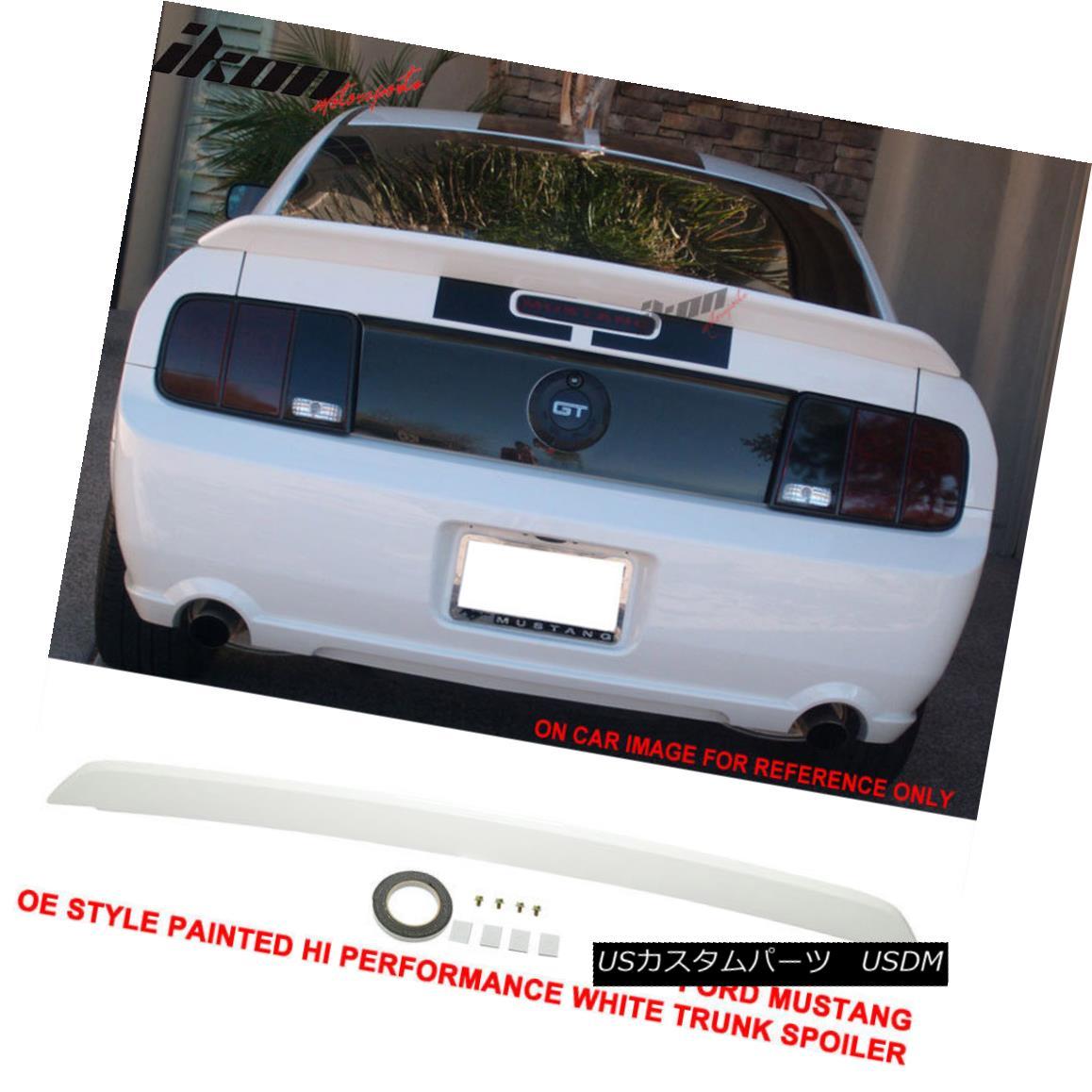 エアロパーツ 05-09 Mustang OE Style Painted # HP Hi Performance White Trunk Spoiler - ABS 05-09ムスタングOEスタイル塗装済み#HPハイパフォーマンスホワイトトランクスポイラー - ABS