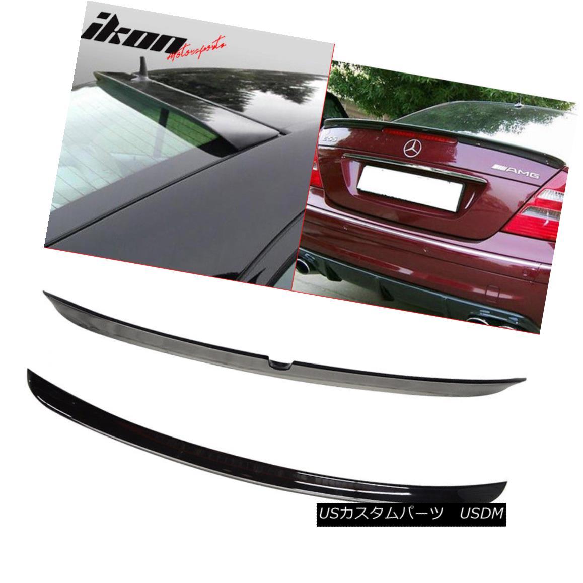 エアロパーツ Fits 03-05 W211 Sedan AMG Trunk Spoiler & L Type Roof Wing Painted #040 Black フィット03-05 W211セダンAMGトランクスポイラー& L型屋根棟#040黒塗装