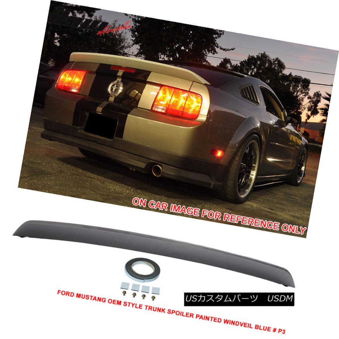 エアロパーツ Fit For 05-09 Ford Mustang Trunk Spoiler Painted Windveil Blue # P3 - ABS 05-09 Ford Mustangトランク・スポイラー・フォー・ウィンドーヴェルブルー#P3 - ABS