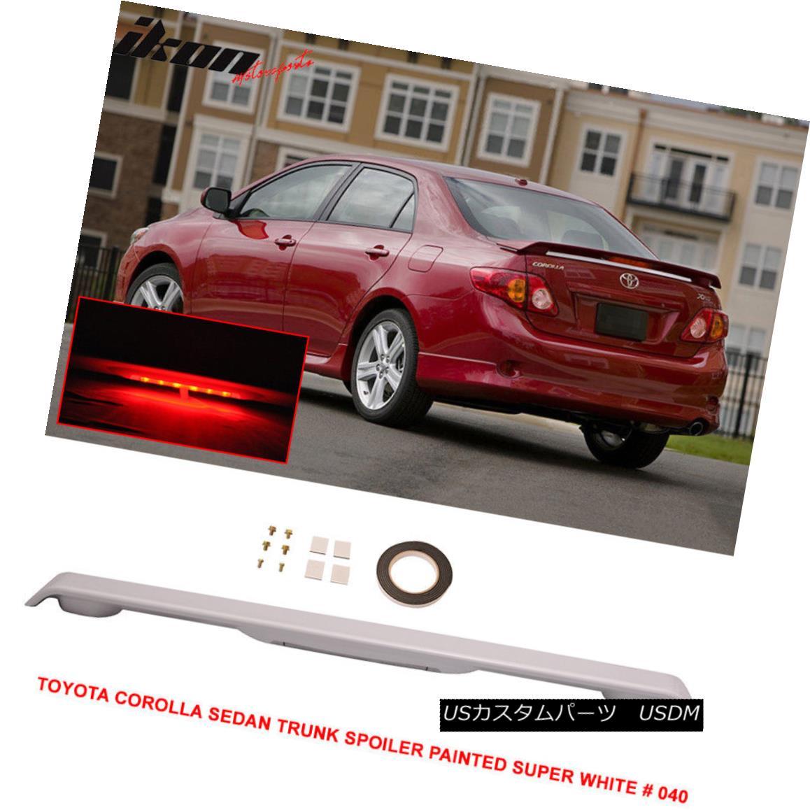 エアロパーツ 09-13 Toyota Corolla 4Dr Trunk Spoiler Painted Super White # 040 LED Light 09-13トヨタカローラ4Drトランクスポイラー塗装スーパーホワイト#040 LEDライト