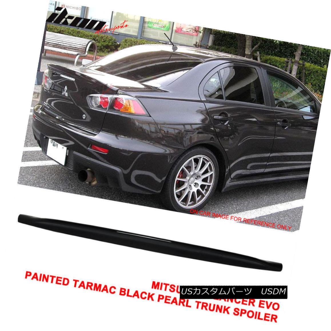 エアロパーツ Fit 08-17 Lancer EVO X JDM Duckbill Trunk Spoiler Painted Tarmac Black Pearl ABS フィット08-17ランサーエボX JDMダックビルトランクスポイラー塗装タルマックブラックパールABS
