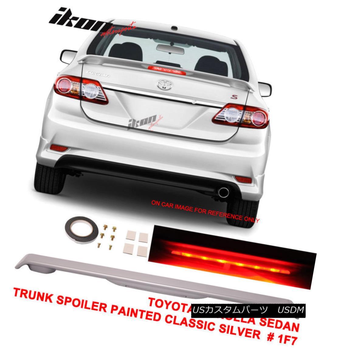 エアロパーツ 09-13 Toyota Corolla 4D Trunk Spoiler Painted Classic Silver # 1F7 LED Light 09-13トヨタカローラ4Dトランクスポイラー塗装クラシックシルバー#1F7 LEDライト