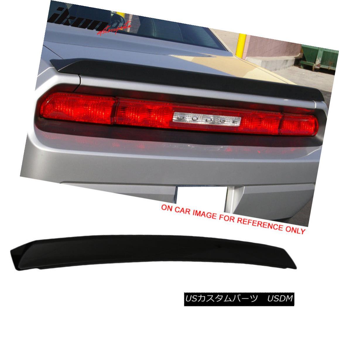 エアロパーツ Fits 08-17 Challenger Factory Flush Deck ABS Trunk Spoiler Painted #PX8 Black フィット08-17チャレンジャー工場フラッシュデッキABSトランクスポイラー#PX8ブラック塗装