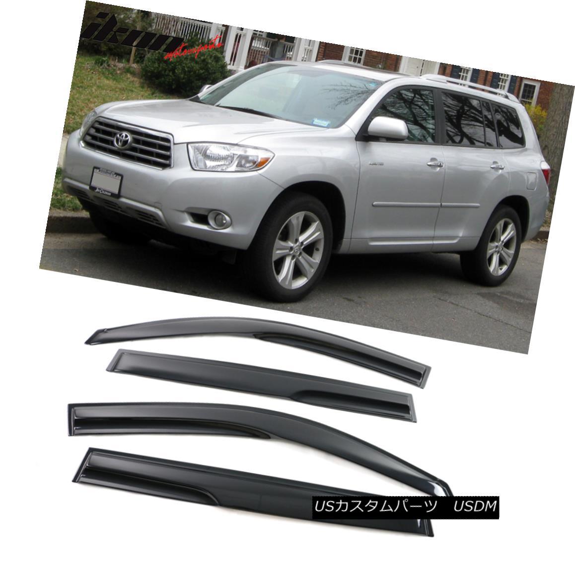 エアロパーツ Fits 08-13 Toyota Highlander Mugen Style Acrylic Window Visors 4Pc Set フィギュア08-13トヨタハイランダームゲンスタイルのアクリル窓バイザー4個セット