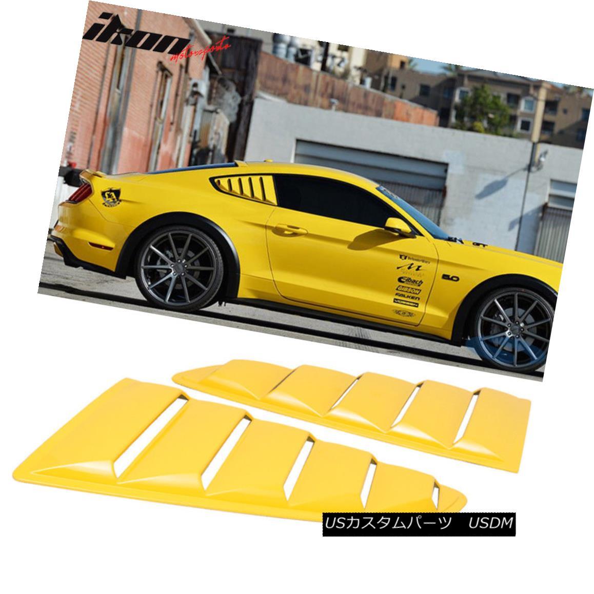 エアロパーツ Fits 15-18 Mustang OE Style Painted #H3 Triple Yellow Side Window Louvers Pair フィット15-18マスタングOEのスタイル塗装#H3トリプルイエローサイドウィンドウのルーバーペア