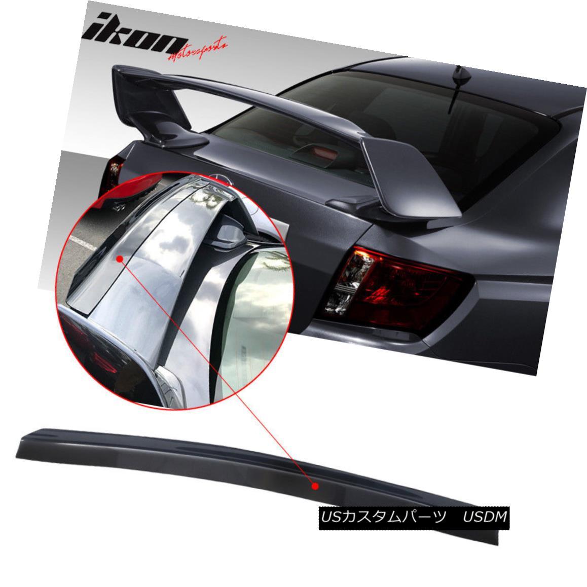 エアロパーツ Fit 08-14 Subaru WRX STi Top Gurney Flap Add-On Trunk Spoiler Wing Transparent フィット08-14スバルWRX STiトップガーニーフラップアドオントランクスポイラーウイング透明