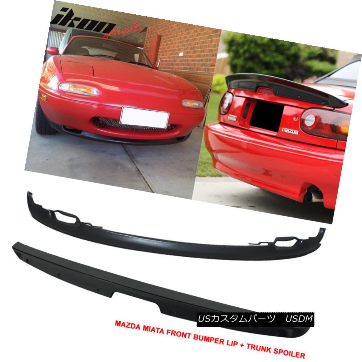 エアロパーツ 90-97 Mazda Miata MX5 RS Style Front Bumper Lip PU + KG Style Trunk Spoiler ABS 90-97マツダMiata MX5 RSスタイルフロントバンパーリップPU + KGスタイルのトランクスポイラーABS