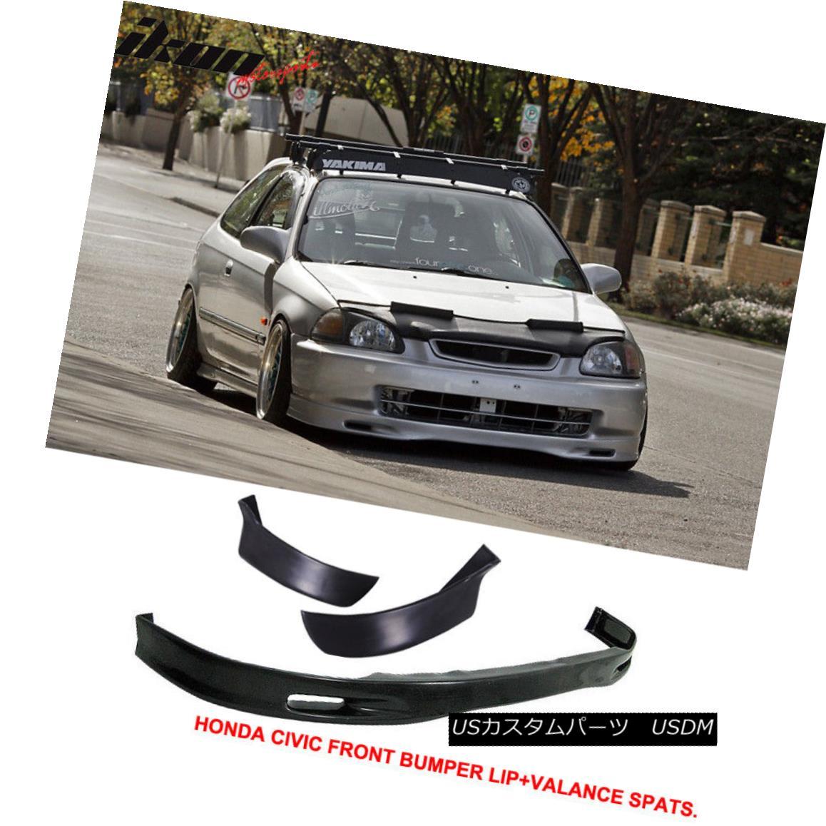 エアロパーツ Fits 96-98 Honda Civic 3Dr Spoon Front Bumper Lip + 2PC Rear Lip Valance Spats フィット96-98ホンダシビック3Drスプーンフロントバンパーリップ+ 2PCリアリップバランススパッツ