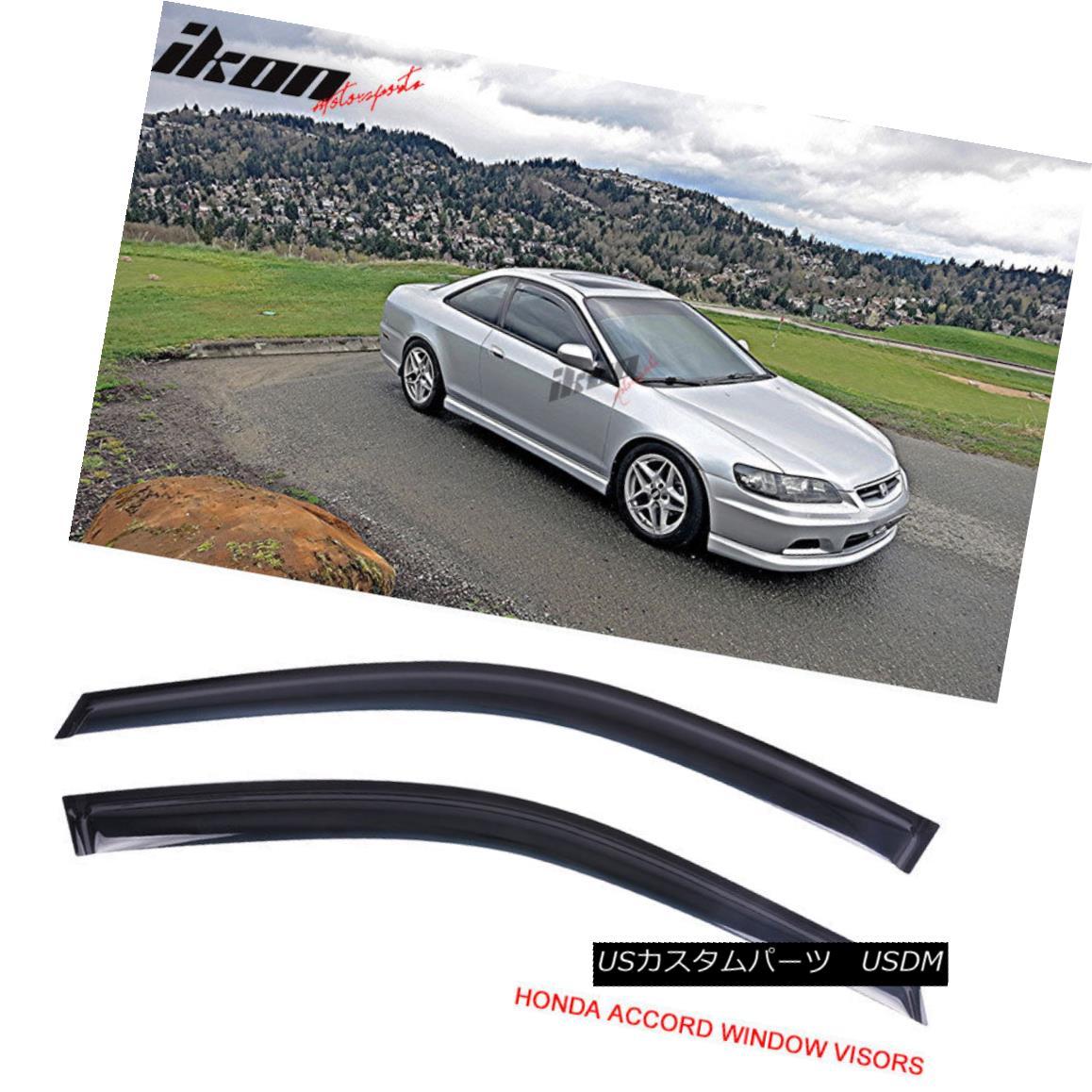 エアロパーツ Fits 98-02 Honda Accord Coupe Acrylic Window Visors 2Pc Set フィット98-02ホンダアコードクーペアクリル窓バイザー2PCセット
