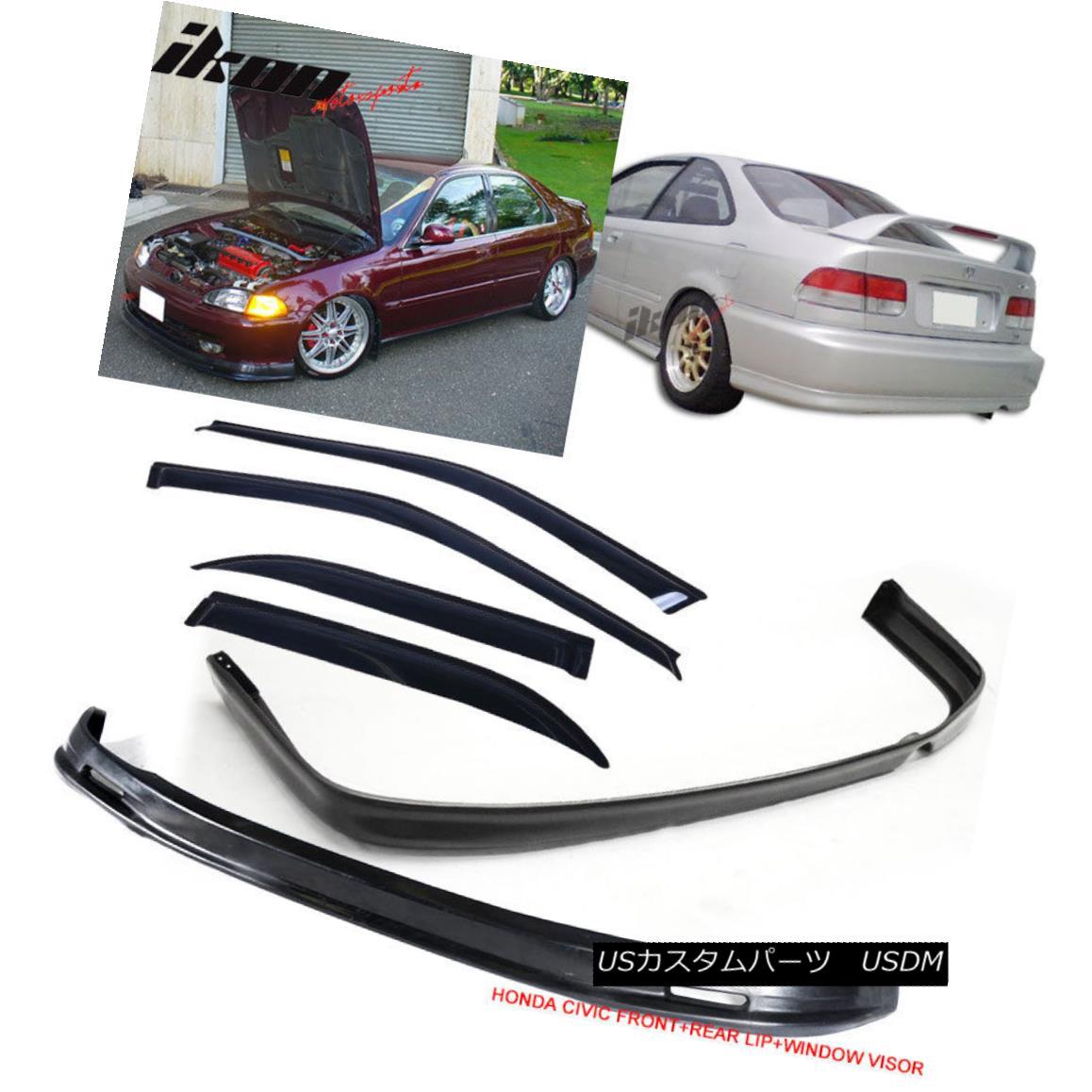 エアロパーツ Fits 92-95 Honda Civic Mugen Style Front + Rear Bumper Lip + Sun Window Visors フィット92-95ホンダシビックムゲンスタイルフロント+リアバンパーリップ+サンバイザバイザー