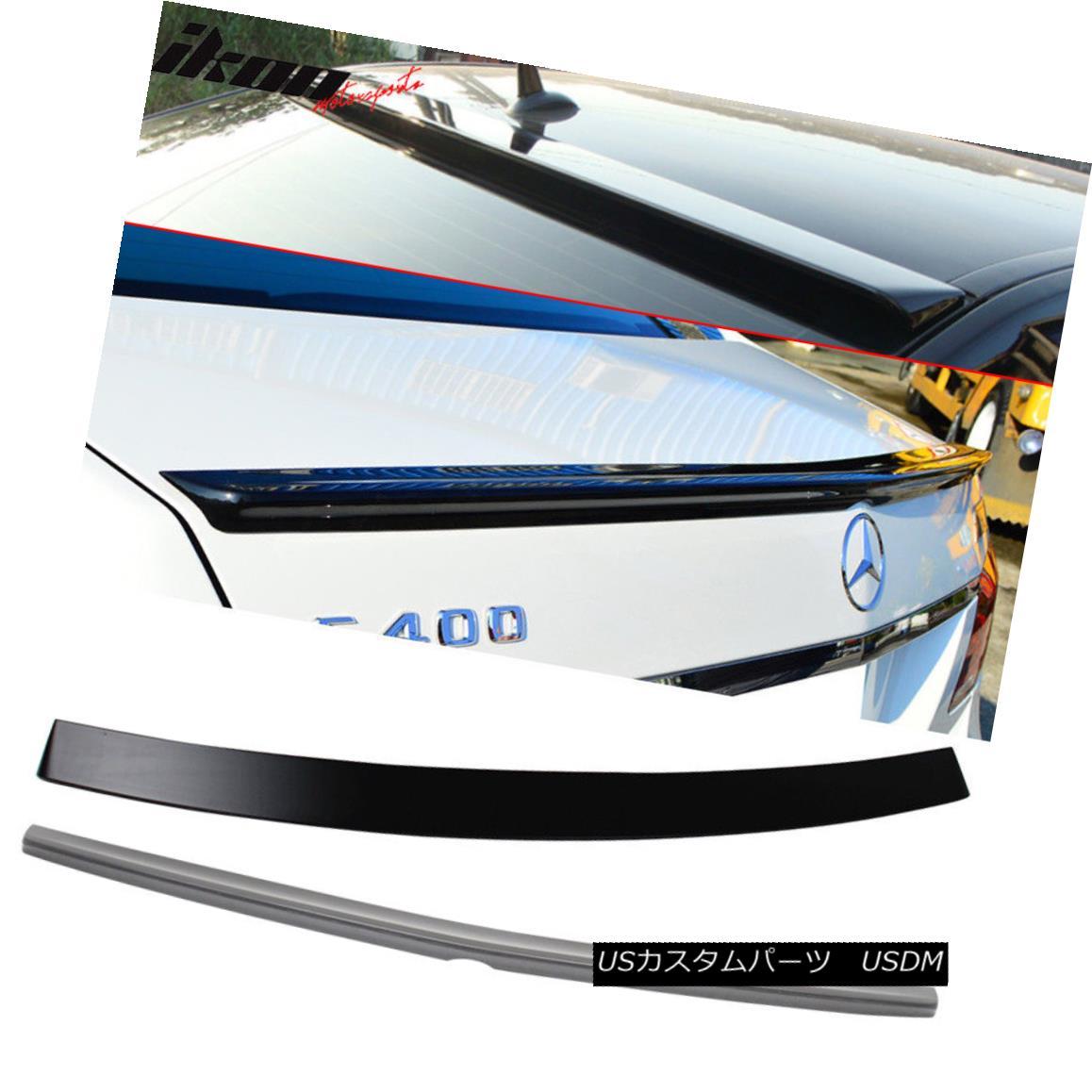 エアロパーツ Fits 10-16 Benz E Class W212 Sedan AMG Trunk Spoiler & OE Factory Roof Wing ABS フィット10-16ベンツEクラスW212セダンAMGトランクスポイラー& OEファクトリルーフウイングABS