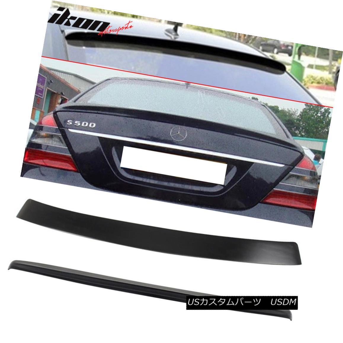 エアロパーツ Fits 07-13 Benz S Class W221 Sedan AMG Trunk Spoiler & L Type Roof Wing ABS フィット07-13ベンツSクラスW221セダンAMGトランクスポイラー& L型ルーフウィングABS