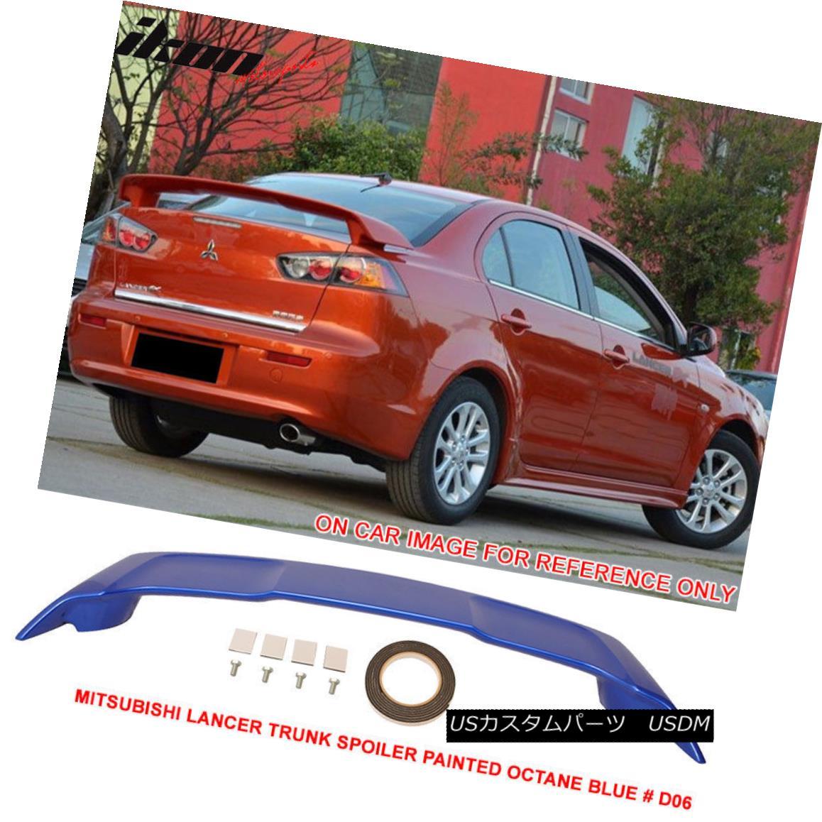 エアロパーツ Fit For 08-17 Mitsubishi Lancer OE Trunk Spoiler Painted Octane Blue # D06 - ABS 08-17三菱ランサーOEトランクスポイラー塗装オクタンブルー#D06 - ABS用