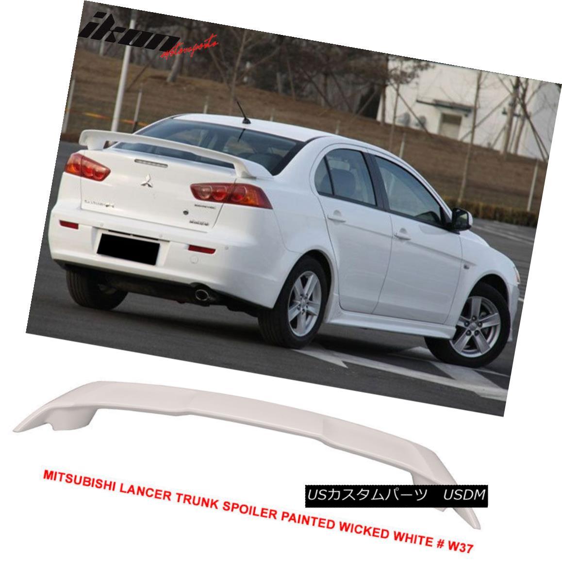 エアロパーツ 08-17 Mitsubishi Lancer OE Trunk Spoiler Painted Wicked White # W37 - ABS 08-17三菱ランサーOEトランクスポイラー塗装ウィッキッドホワイト#W37 - ABS