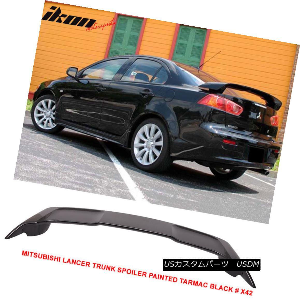 エアロパーツ 08-17 Mitsubishi Lancer OE Trunk Spoiler Painted Tarmac Black # X42 - ABS 08-17三菱ランサーOEトランク・スポイラー塗装済みタクシーブラック#X42 - ABS