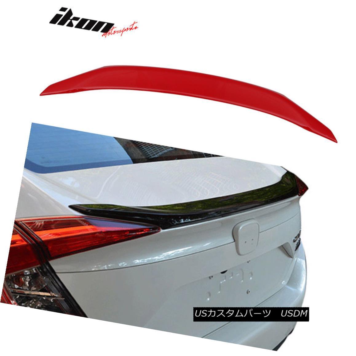 エアロパーツ 16-18 Honda Civic X Sedan 4Dr OE Trunk Spoiler Painted Rallye Red # R513 16-18ホンダシビックXセダン4Dr OEトランクスポイラーペイントラリーレッド#R513