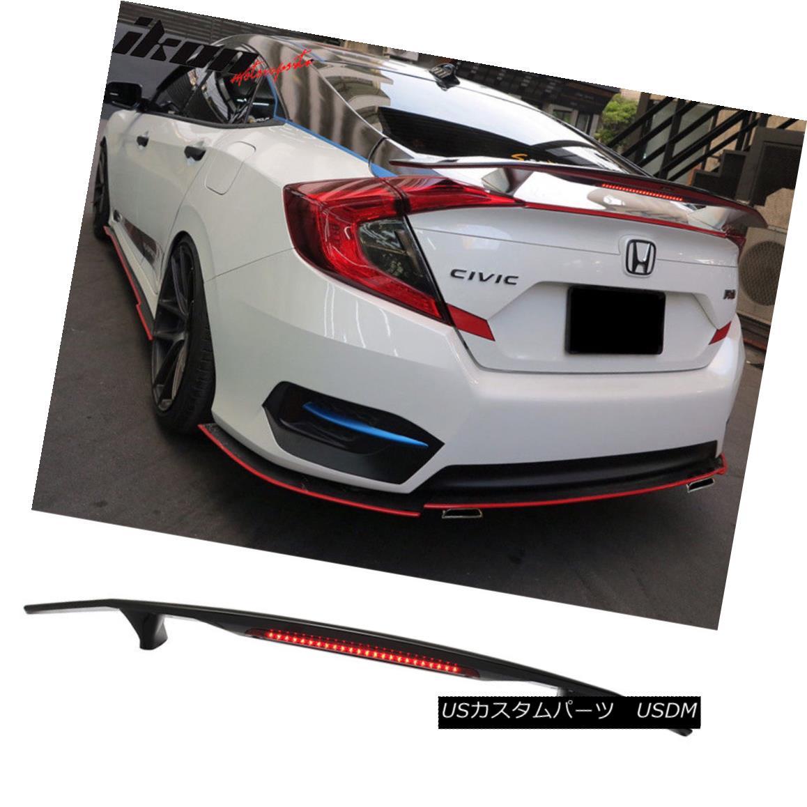 エアロパーツ 2 Post Universal Glossy Black Trunk Spoiler Wing & 3RD Brake LED Light - ABS 2ポストユニバーサル光沢ブラックトランクスポイラーウイング& 3RDブレーキLEDライト - ABS
