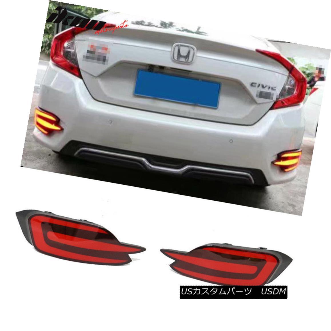 エアロパーツ Fits 16-18 Civic 10 th Sedan 4Dr Rear Bumper Brake Lamp Red LED Light - 2 PCS フィット16-18シビック10 thセダン4DrリアバンパーブレーキランプレッドLEDライト - 2 PCS