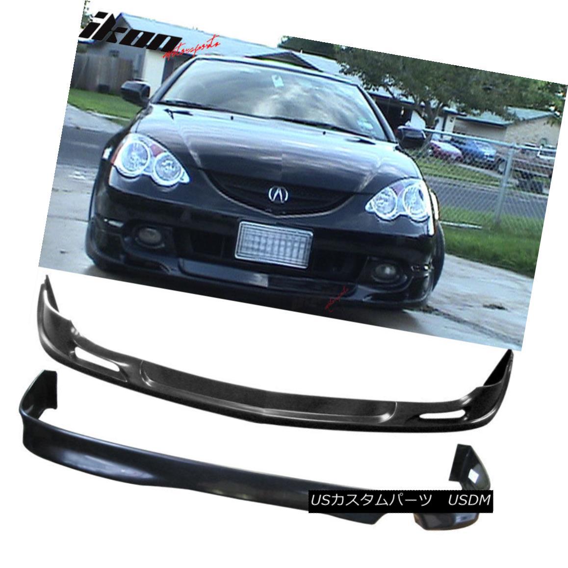 エアロパーツ Fits 02-04 Acura RSX Coupe Urethane Lip Front +Rear Bumper Lip Spoiler Bodykit フィット02-04アキュラRSXクーペウレタンリップフロント+リアバンパーリップスポイラーボディキット