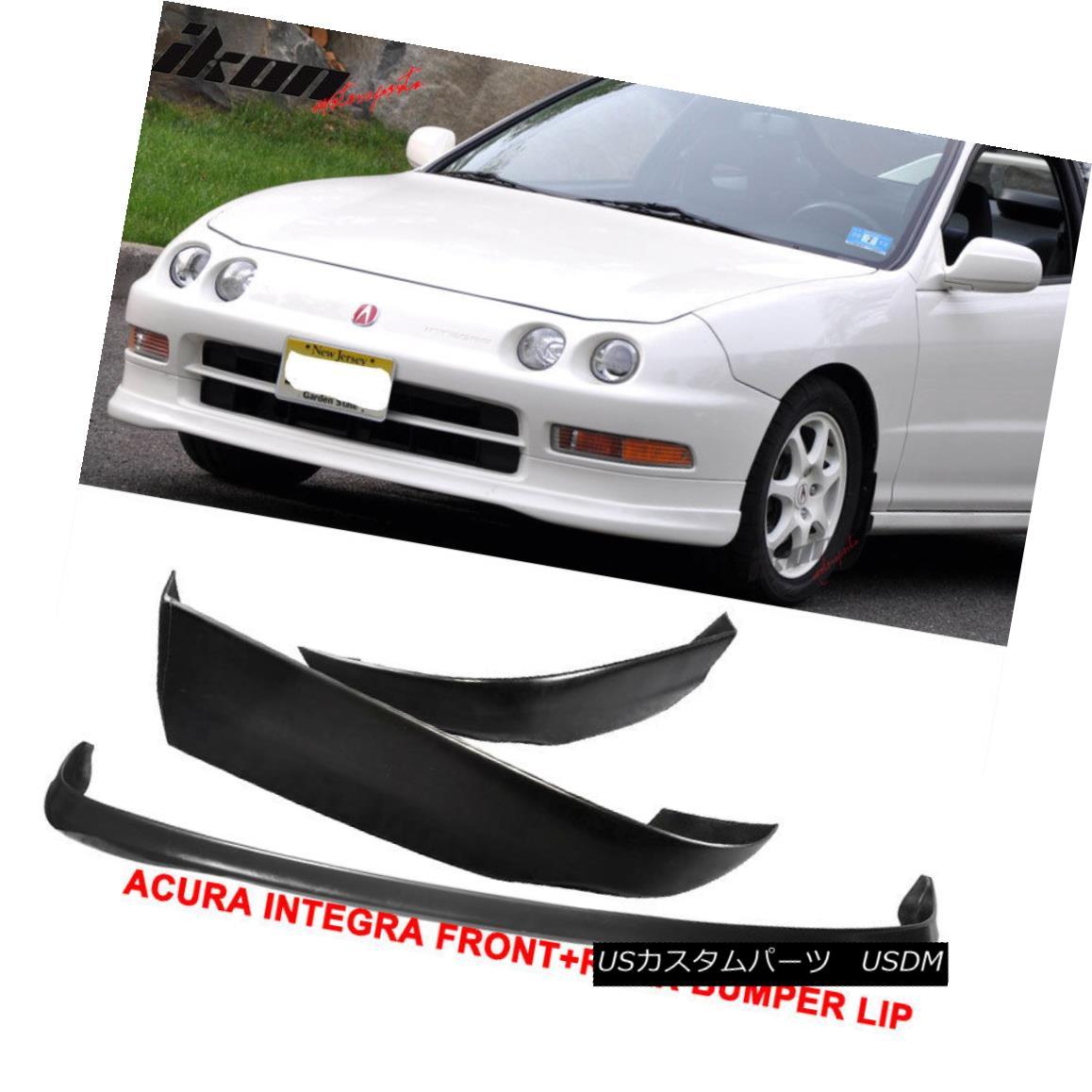 エアロパーツ Fits 94-97 Acura Integra T-R Urethane Front Bumper Lip + T-R ABS Rear Lip フィット94-97アキュラインテグラT-Rウレタンフロントバンパーリップ+ T-R ABSリアリップ