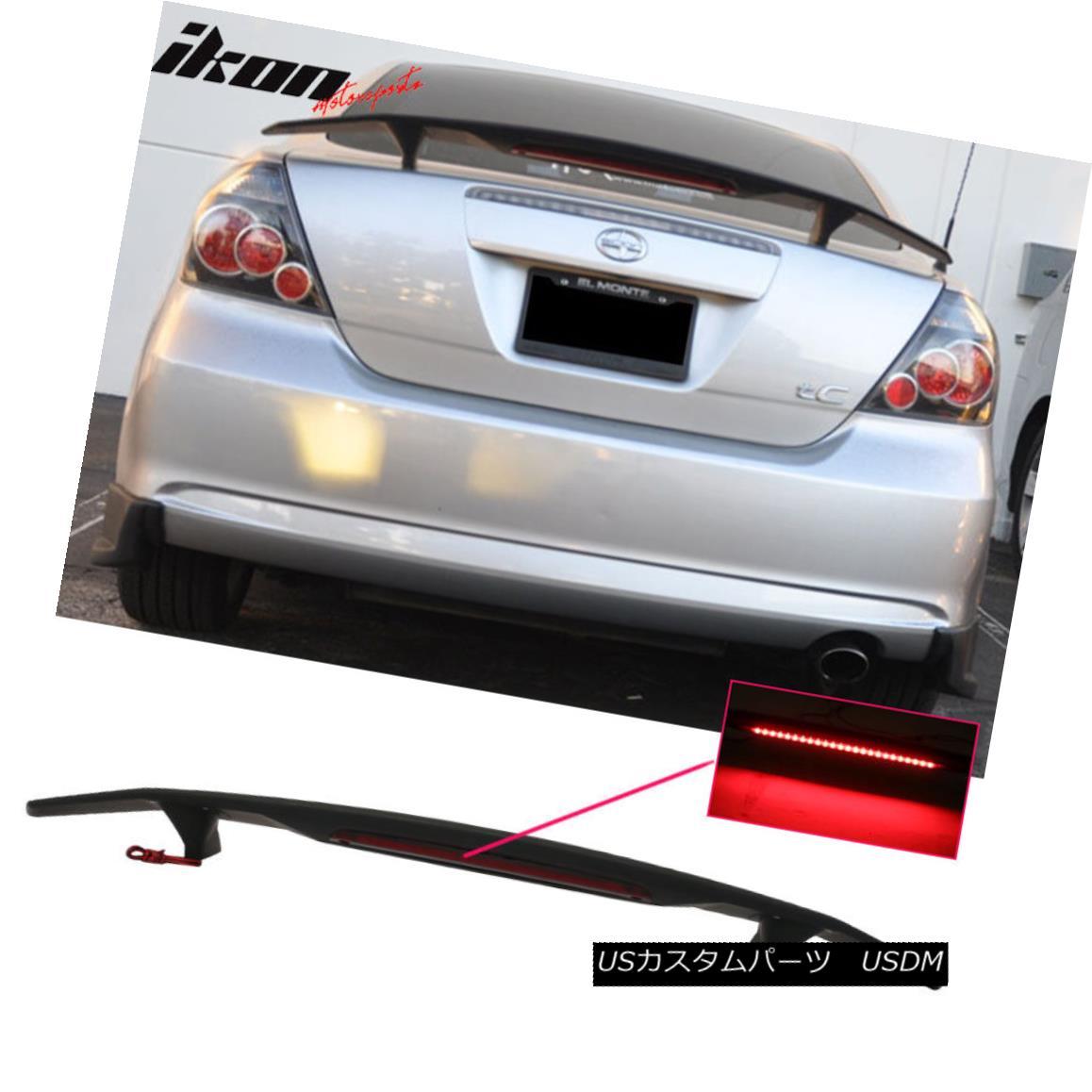 エアロパーツ Fits 05-10 Scion tC Coupe 2Dr Trunk Spoiler Wing & LED Light - Matte Black ABS フィット05-10シオンtCクーペ2Drトランクスポイラーウィング& LEDライト - マットブラックABS