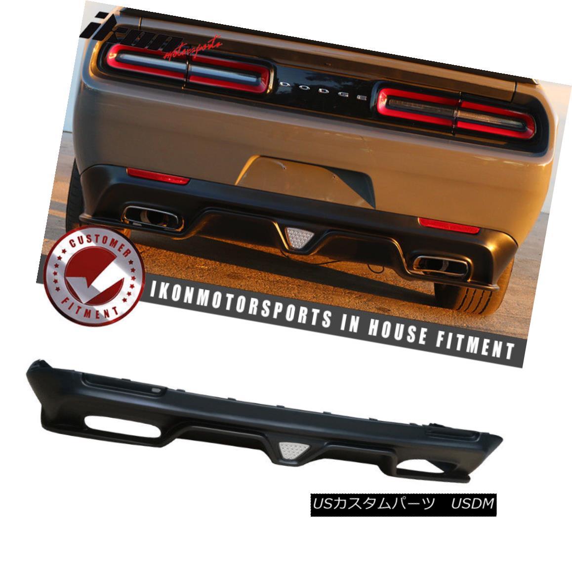 エアロパーツ Fit 15-18 Challenger SXT Style Rear Bumper Lip Diffuser+LED Brake Light Black PP フィット15-18チャレンジャーSXTスタイルリアバンパーリップディフューザー+ LEDブレーキライトブラックPP