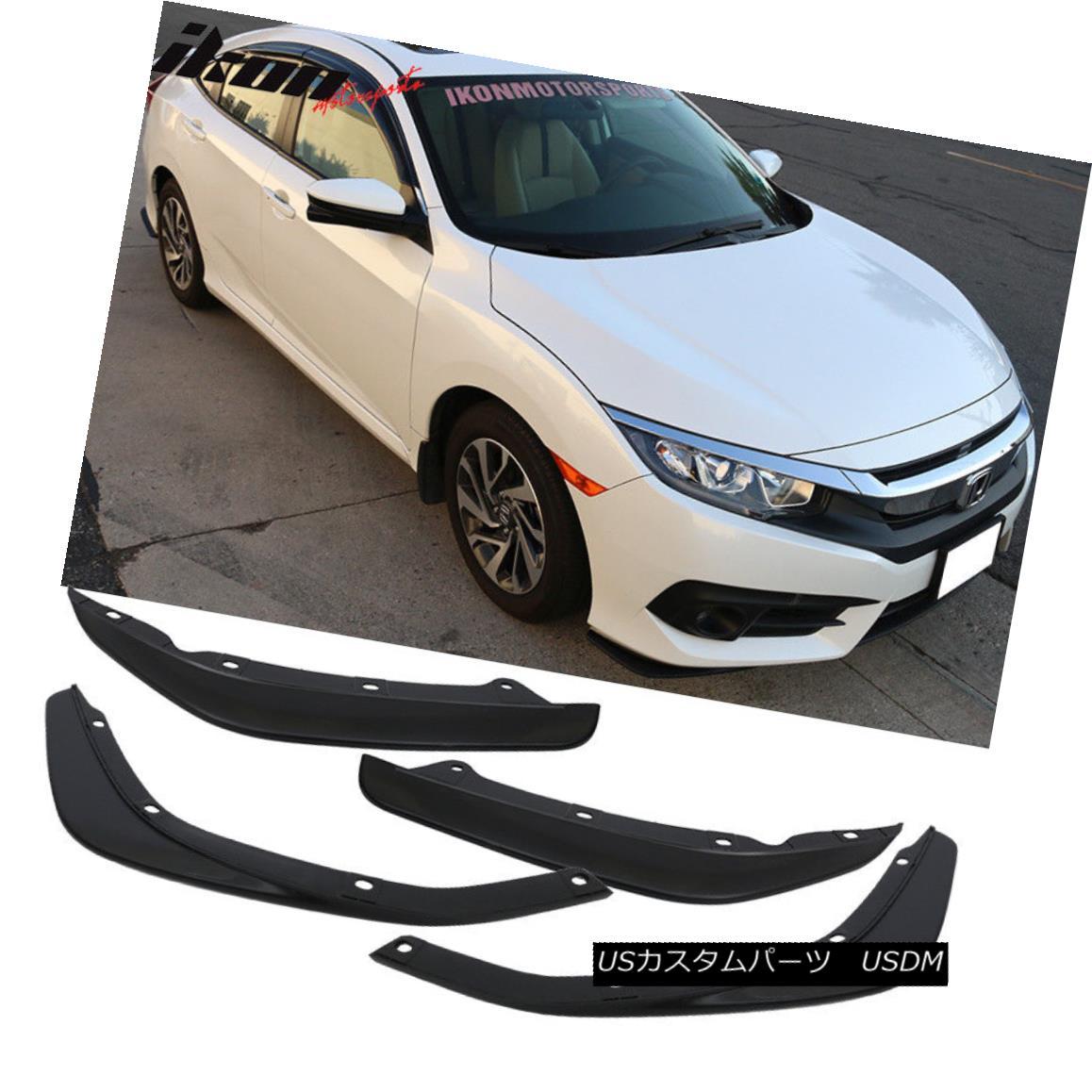 エアロパーツ Fits 16-18 Civic Sedan Front + Rear Bumper Lip Splitters 2PC - PP Polypropylene フィット16-18シビックセダンフロント+リアバンパーリップスプリッター2PC - PPのポリプロピレン