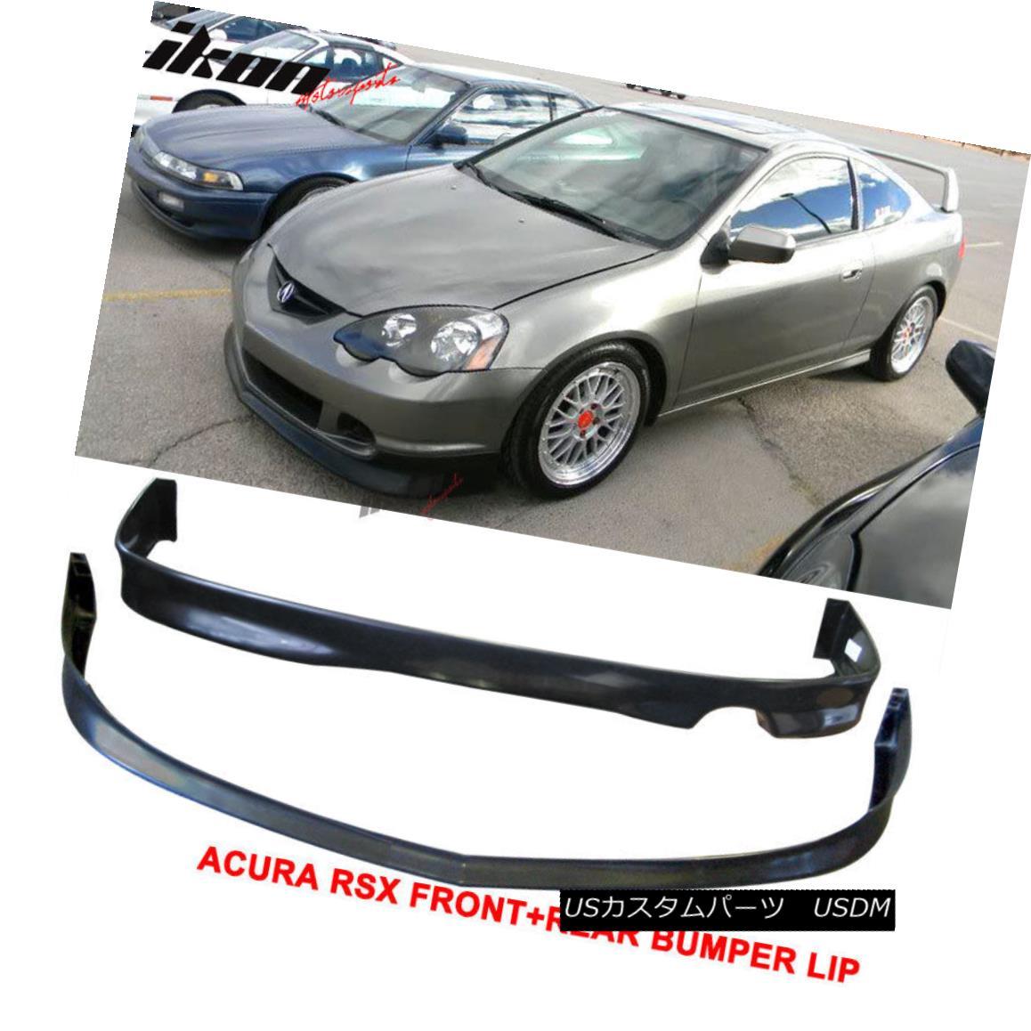 エアロパーツ Fits 02-04 Acura RSX DC5 Poly-Urethane Front Bumper Lip+ Rear Bumper Lip フィット02-04アキュラRSX DC5ポリウレタンフロントバンパーリップリアバンパーリップ