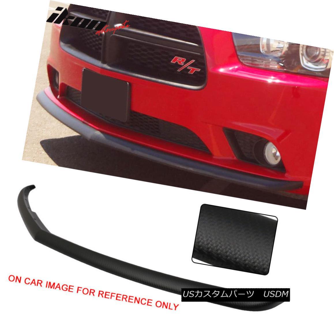 エアロパーツ Carbon Fiber Texture Fits 11-14 Charger Sedan 4Dr Front Bumper Lip OE Style - PP カーボンファイバーテクスチャー11-14チャージャーセダン4DrフロントバンパーリップOEスタイル - PP