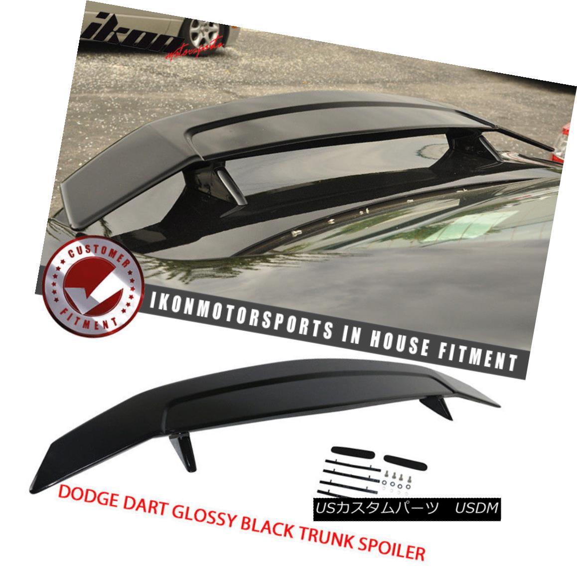 エアロパーツ Fits 13-16 Dodge Dart 2 Post Glossy Black Trunk Spoiler Wing - ABS フィット13-16ダッジダーツ2ポストグロスブラックトランクスポイラーウィング - ABS